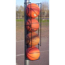 Basketball Butler 4 Ball Storage Rack Pole Mount Basketball Holder